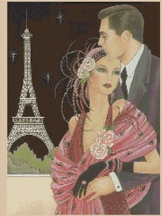Amazing image is the creation of Flower Power37-UK......Counted Cross Stitch ART DECO Couple in Paris - COMPLETE KIT - No.6vb-46