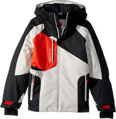 Obermeyer Kids Boy's Outland Jacket (Little Kids/Big Kids) Black X-Large. FABRIC: HydroBlock Sport 100% Polyester Strongweave. Full-Motion critical seam sealing. Critical exterior storm flap. Powder skirt - integrated, water-resistant, with Snap-Away feature. Adjustable cuffs with inner stretch thumbhole.