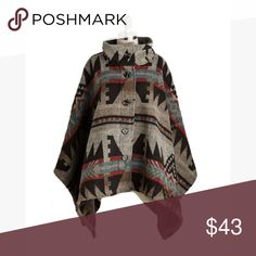 💋SALE💋 Tribal Pattern Poncho A fashionable poncho/cape featuring a boho tribal pattern in crimson, coffee, and turquoise. The fabric is mid-weight, which is perfect for chill nights and brisk days! The size is M/L. This is sold out online, and is NWOT! Photo is from ModCloth website.  Model photo is not mine, and shows the same style in a different print.  Brand is Thread & Supply. ModCloth Jackets & Coats Capes