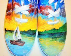 Boat Landscape Custom Shoe art fun ideas for tie dye adventures with sharpies :))