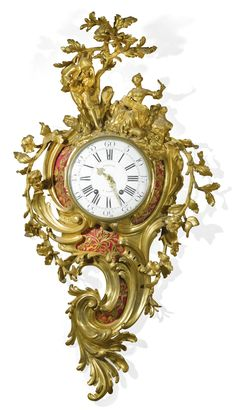 A Louis XV gilt-bronze cartel clock, circa 1770 9-inch enamel dial signed Perache A Paris, the similarly signed bell striking movement with later steel suspension, star-cut numbered outside count wheel, the rococo case cast with bold scrolls and surmounted by a musician playing a flute, his music held by a young girl seated beneath a tree, the sides with trailing leaves and flowers