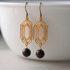 Art Deco Earrings, Brass Charm Earrings, Marsala Pearl Earrings, Art Deco Jewelry, Brass Art Deco by juliegarland on Etsy https://www.etsy.com/listing/223296996/art-deco-earrings-brass-charm-earrings