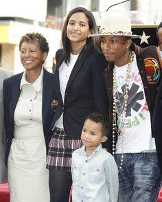 Pharrell Williams, wife Helen, son Rocket Man and Pharells mom.