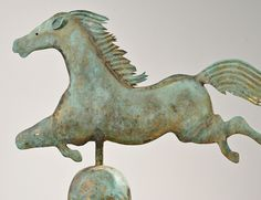 Molded and Sheet Copper Leaping Horse Weathervane on Stand, probably A.L. Jewell and Co., Waltham, Massachusetts, late 19th century. | Sold for $4,613 | Auction 2918T | Lot 1144