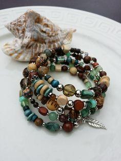 Bracelet memory wire precious stones, wood bracelet, boho bracelet, Nature,  gypsy bracelet