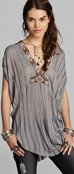 Free People Tunic Paradise Herringbone Stripe in Gray (Silver) Hippie Style, Look Hippie Chic, Gypsy Style, Bohemian Style, Boho Chic, My Style, Ibiza, Traje Casual, Free People