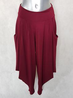4fce6d450997a #Pantalon #sarouel femme fluide chic uni #bordeaux. Taille 38 à #48
