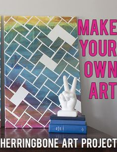 How to Make a Herringbone Art Piece, Easy and Fun! | * View Along the Way *