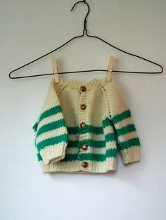 Vintage Cream Cardigan with Green Stripes - Size 6-12 months, 12-18 months