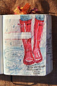 Deuteronomy 11:11-14, October 24, 2016, carol@belleauway.com, Watercolor, Zig Memory ball pen bible art journaling, bible journaling, illustrated faith