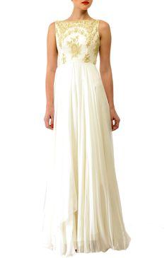 White lace Gown #gown #flowy #straightfall #assymetric #chiffon #embroidery #princessline #boatneck www.stylearrest.com