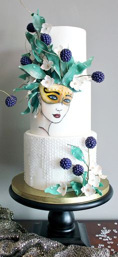 "Sugar Carnival ""Abundance"" ~ A combination hand painting and 3d head piece on this fun cake"