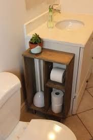 Image result for bathroom half wall + hidden trash