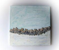 Pebble Art  Heart Shaped Rocks Art  Unique Wall by MedBeachStones