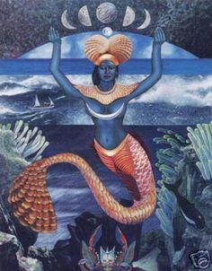 Yemaya is the Yoruba (West African) goddess of water and life. In the Yoruba religion, Yemaya is an orisha, an animistic deity who is a manifestation of one part of God. The Yoruba religion has inf… African Mythology, African Goddess, Black Mermaid, Mermaid Art, Mermaid Paintings, Yemaya Orisha, Yemaya Santeria, Orishas Yoruba, Yoruba Religion