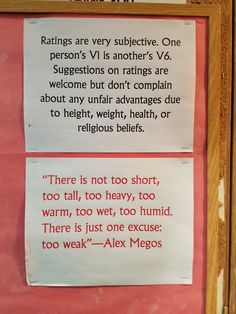 This was on the wall at Climb North. Hard truth from Alex Megos.