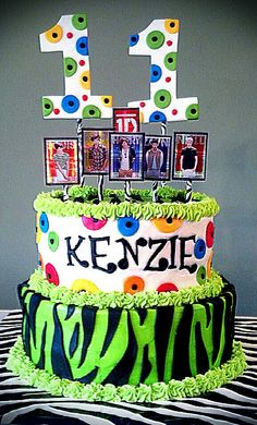 One Direction /Zebra Print/Green 11th birthday cake