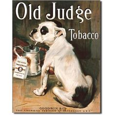 Old Judge Tobacco Bull Dog Retro Vintage Tin Sign by Poster Revolution. $9.06. ships quickly and safely in a protective envelope. measures 12.50 by 16.00 inches. professional quality metal / tin sign. tin signs are new and may have a vintage or distressed appearance. enameled paint is attractive and very durable. Old Judge Tobacco Bull Dog Retro Vintage Tin Sign