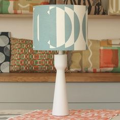 Deep duck egg blue lampshade handprinted on off-white cotton/linen mix
