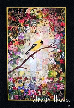 """Persistence"" - art quilt by Stitchin' Therapy (Debbie);  Watercolor Quilt"