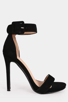 Metallic Buckled Ankle Strap Stiletto Heel
