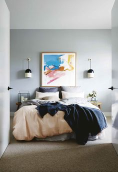 Trendy bedroom art above bed fireplaces Ideas Bedroom Art Above Bed, Master Bedroom Design, Bedroom Wall, Bedroom Decor, Bedroom Lighting, Bedroom Ideas, Bedroom Chandeliers, Bedside Lighting, Bedroom Lamps