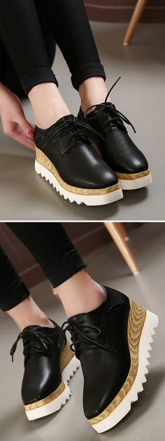 Black Platform Shoes With Squard Toe                                                                                                                                                     Más