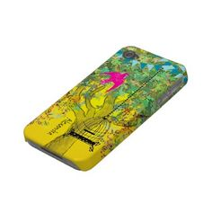 Whimsical Tree Birdcage Bright Color Musical Notes Case-mate Iphone 4 Cases by samack