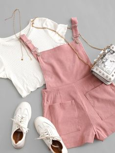Pockets Corduroy Pinafore Romper With Top - Multi S Really Cute Outfits, Cute Comfy Outfits, Cute Summer Outfits, Girly Outfits, Pretty Outfits, Stylish Outfits, Floral Dress Outfits, Cute Girl Outfits, Dresses