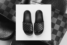 """Vans has the slides game on lock with this new spring release. Find out where to the cop the newly released Vans """"Checkerboard"""" Slides. Slide Games, Vans Checkerboard, Pool Slides, All Black Sneakers, Kicks, Sandals, Shoes, Style, Fashion"""