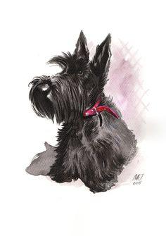 Scottish Terrier original ink painting by GROOVYart on Etsy