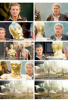 His expression never changes, yet somehow, when he tries telling Leia that Han is there, he looks afraid
