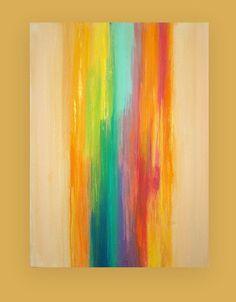 "Art Acrylic Abstract Painting Original Canvas Art Titled: WATERFALL 6  30x40x1.5"" by Ora Birenbaum"