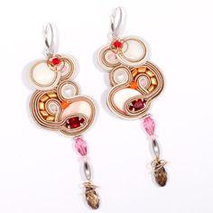 Oriental Silk and Silver - Soutache Earrings