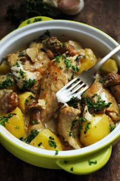 Chicken Fricassee with beer, potatoes and mushrooms