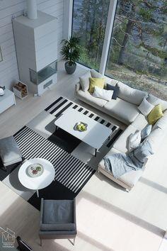 Woodnotes paper yarn carpets in the living room. Asuntomessut 2017 Mikkeli, Villa Saimaanhelmi