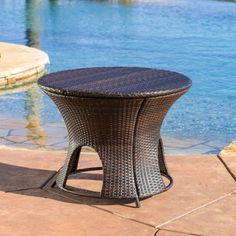 nice Randall Wicker Multibrown Outdoor Round Storage Table