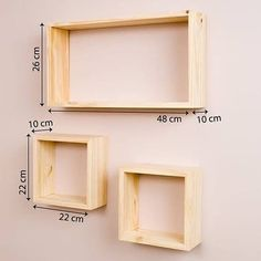 Wooden wall shelves by request Price depends on size What is certain murmer Wa: 085720311626 - - Wooden Wall Shelves, Wall Shelves Design, Floating Shelves, Diy Wood Projects, Woodworking Projects, Woodworking Plans, Geometric Shelves, Creative Wall Decor, House Plants Decor