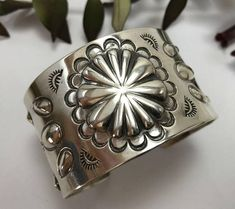 Concho Repousse Stamped Cuff Bracelet Sterling Silver