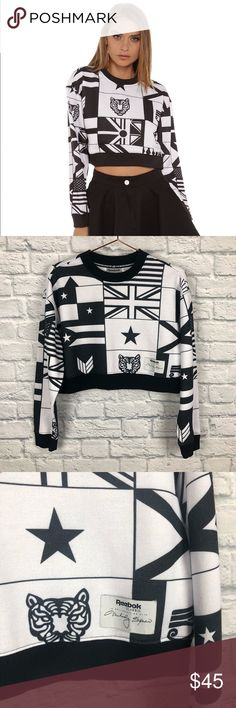 f3fcc11cb7f Reebok classic Melody Ehsani crop sweater Reebok classic Melody Ehsani  Black And White flag print crop
