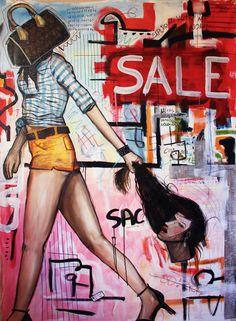 Bolsa (Handbag) - Peinture,  130x180x4 cm ©2015 par Gabriel Grecco -                                                                                                Art figuratif, Expressionnisme, Street Art (Art urbain), Surréalisme, Toile, Personnes, mulher, woman, handbag, bag, cabeça, sale, shopping, basquiat