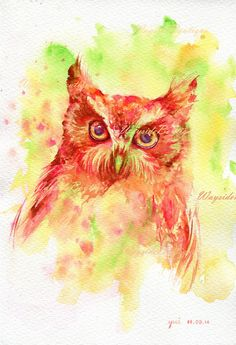The Owl  ORIGINAL watercolor painting 7.5x11 by WaysideBoutique, $25.00