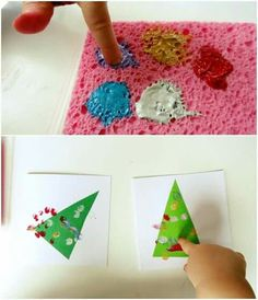 paint on sponges for finger painting christmas tree