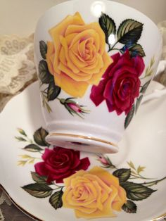 Items similar to Royal Ascot Bone China Tea Cup and Saucer Made in England, Perfect Condition, Red and Yellow Roses Pattern with Gold Trim. Cup And Saucer Set, Tea Cup Saucer, Red And Yellow Roses, Bone China Tea Cups, Royal Ascot, Vintage Tea, High Tea, Holidays And Events, Have Time