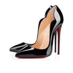 """""""Hot Chick"""" has ladies lusting after her amazing shape. Her black patent leather scalloped rim brings distinct sensuality to her design. With a plunging 130mm pitch, she may be built more for posing than walking. So, slip her on, pose, and let others come to you."""