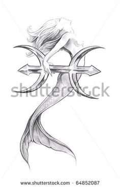 stock photo : Tattoo art, sketch of a mermaid, pisces
