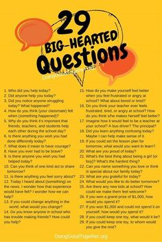 questions for big-hearted family dinner conversations, or any time. Speak deeply daily, and kids will grow big questions for big-hearted family dinner conversations, or any time. Speak deeply daily, and kids will grow big hearts! Parenting Advice, Kids And Parenting, Gentle Parenting, Parenting Styles, Parenting Quotes, Peaceful Parenting, Parenting Classes, Mindful Parenting, Natural Parenting