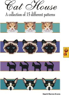 15 Patterns to work in Peyote or brick stitch. Charted for Delicas in color code. Patterns include: Black Cats, Black Cats at Midnight, Birman, Pony Bead Patterns, Peyote Patterns, Beading Patterns, Loom Animals, Beaded Animals, Peyote Beading, Beadwork, Beaded Bracelet Patterns, Cat Pattern