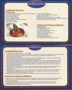 Disney Cruise Line Lobster Ravioli Recipe Disney Dishes, Disney Snacks, Disney Food, Disney Recipes, Restaurant Recipes, Seafood Recipes, Cooking Recipes, Comida Disney, Disney Inspired Food