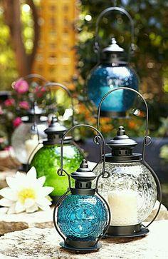 Clear Medallion Glass Lanterns